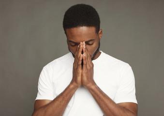 Facial expression, emotions, serious black man