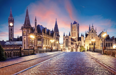 Wall Mural - Belgium historic city Ghent at sunset