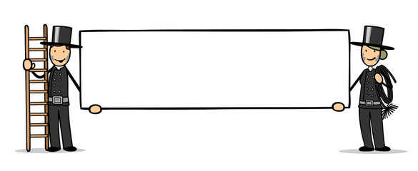 Schornsteinfeger und Schornsteinfegerin halten Schild