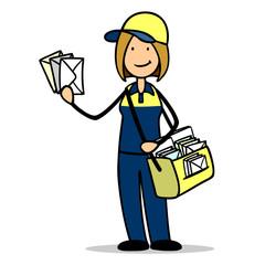 Briefträgerin der Post mit einer Zustellung Briefe