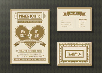 Vintage wedding invitation card vector template set.