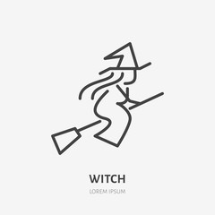 Witch flying on broomstick flat line icon. Halloween party magic sign. Thin linear logo for magician store.