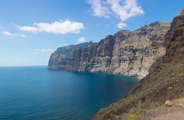 Beautifil panoramic view of the Los Gigantes cliffs in Puerto de Santiago. Tenerife Island, Canary