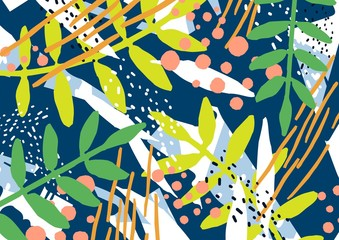 Modern horizontal natural backdrop with tree branches, leaves and colorful abstract stains and scribble on blue background. Bright colored decorative vector illustration in trendy artistic style.