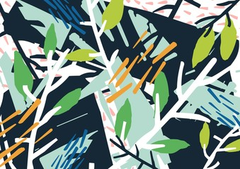 Horizontal abstract backdrop with forest thicket, tree branches, leaves, colorful blots and patches. Modern vivid colored stylish background. Creative vector illustration in contemporary art style.