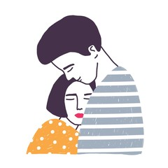 Hugging boyfriend and girlfriend isolated on white background. Man embracing woman. Cute young romantic couple in love cuddling. Hand drawn colorful vector illustration in flat cartoon style.