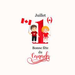 Happy Canada Day poster. Vector illustration greeting card with kids. French text: July 1, Happy Canada Day
