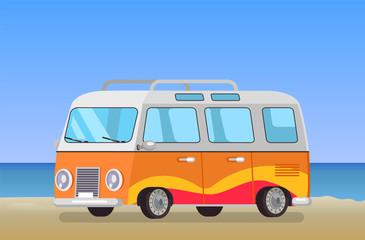 Caravan Trailer Travelling Bus Coastline Backdrop