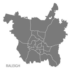 Raleigh North Carolina city map with neighborhoods grey illustration silhouette shape