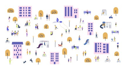 Wall Mural - Crowd of tiny people walking with children or dogs, riding bicycles, sitting on bench in city suburbs. Cartoon men and women performing outdoor activities on suburban street. Vector illustration