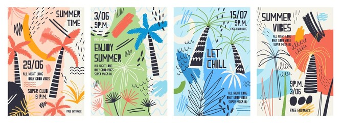 Collection of invitation or poster templates decorated with tropical palm trees, paint stains, blots and scribble for summer open air dance party. Vector illustration for summertime event promotion. Wall mural