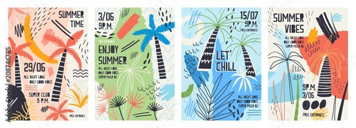 Collection Of Invitation Or Poster Templates Decorated With Tropical