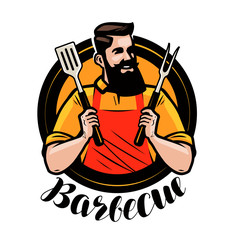 BBQ, barbecue logo or label. Chef or happy cook holding a grill tools spatula and fork. Cartoon vector illustration