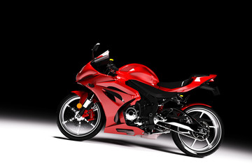 Side view of red sports motorcycle in a spotlight Wall mural