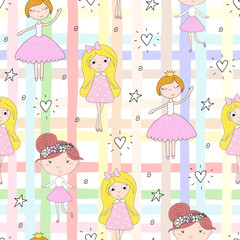 Fotobehang Hoogte schaal cartoon positive seamless pattern with cute girls