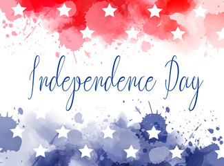 USA Independence day watercolor splashes background