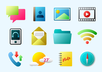 multimedia mobile icon set