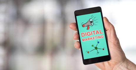 Digital marketing concept on a smartphone