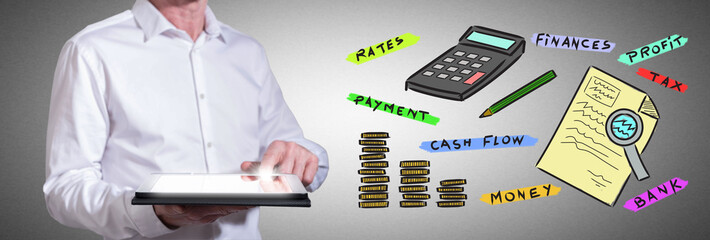 Accounting concept with man using a tablet