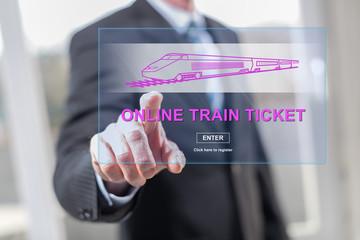 Man touching an online train ticket concept