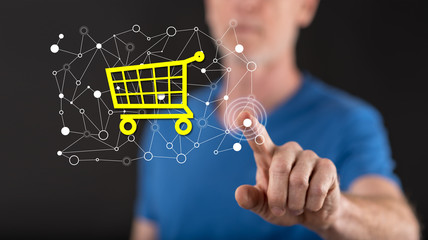 Man touching an e-commerce concept