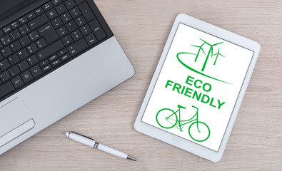 Eco friendly concept on a digital tablet