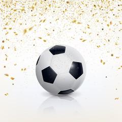 Soccer Ball and Golden Confetti