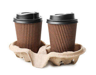 Takeaway cups for drinks on white background. Food delivery service
