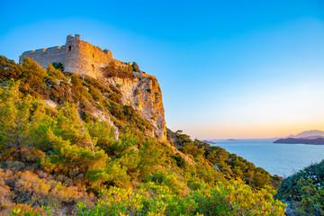 Fotobehang Kasteel Medieval Kritinia's Castle on Rhodes Island, Mediterranean Sea, Greece