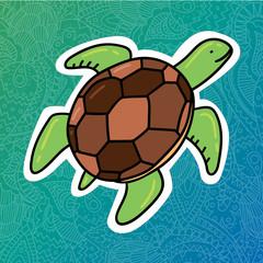 Card print design with sea turtle