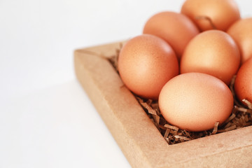 Chicken brown eggs on a white table