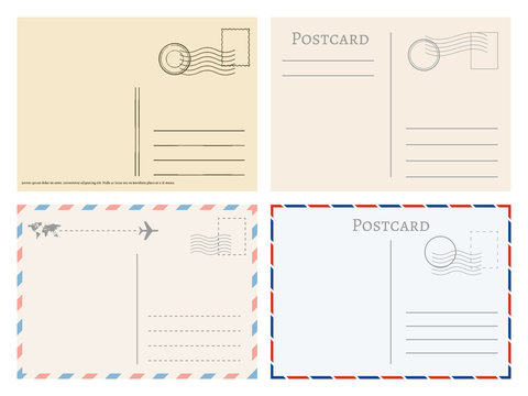 Vintage paper postal cards. Greetings from postcard vector template