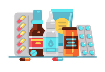 Medical pills and bottles. Healthcare, medication, pharmacy or drugstore vector concept