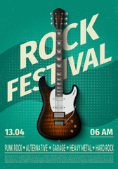 Vintage rock festival flyer with electric guitar. Retro music concert affiche, poster with typography. Vector template