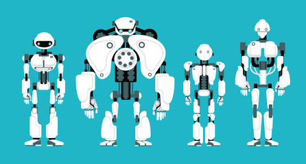 Various robot androids. Cute cartoon futuristic humanoid characters set