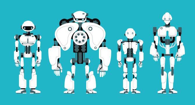 Various robot androids. Cute cartoon futuristic humanoid characters set