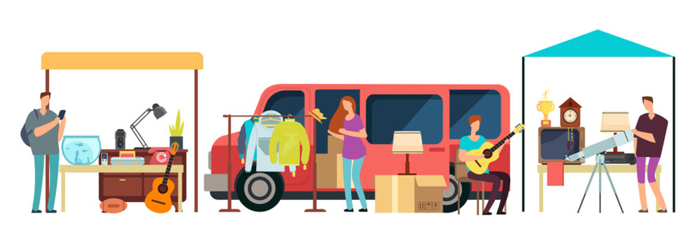 People selling, shopping second hand clothes, vintage goods in mini tracks at flea market. Bazaar with retro things vector illustration