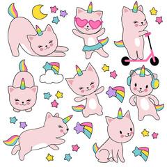 Cartoon cute white cat unicorns. Funny caticorn kittens vector set