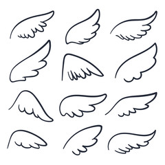 Cartoon angel wings. Winged doodle sketch icons. Angels and bird vector symbols isolated