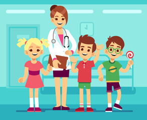 Cute female pediatrician doctor and happy healthy boys and girls in hospital. Childrens healthcare vector concept