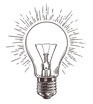 Vintage light bulb in engraving style. Hand drawn retro lightbulb with illumination for idea concept. Vector illustration