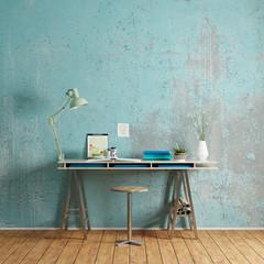 Schreibtisch mit Platz an Wand für Leinwand