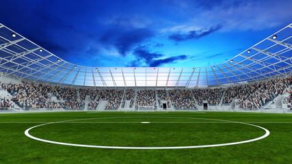 Mittellinie im Fußball Stadion mit Zuschauern