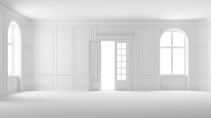 Leerer weißer Raum in Altbauwohnung mit Balkon