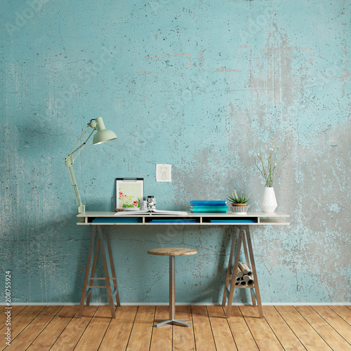 schreibtisch mit platz an wand f r leinwand stockfotos und lizenzfreie bilder auf. Black Bedroom Furniture Sets. Home Design Ideas