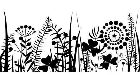 Wall Mural - Spring black grass silhouette seamless pattern