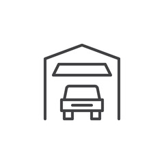 Car garage outline icon. linear style sign for mobile concept and web design. Indoor Parking simple line vector icon. Symbol, logo illustration. Pixel perfect vector graphics