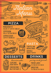 Pizza restaurant menu. Vector food flyer for bar and cafe. Design template with vintage hand-drawn illustrations.