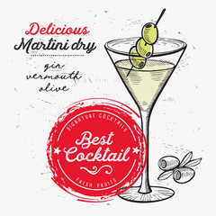 Cocktail martini dry for bar menu. Vector drink flyer for restaurant and cafe. Design poster with vintage hand-drawn illustrations.