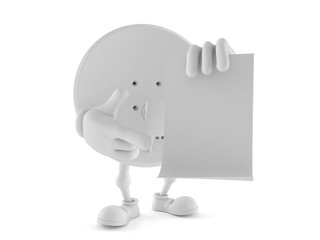 Satellite dish character pointing finger on blank sheet of paper
